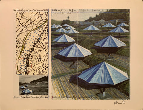 A sketch of blue umbrellas on a hill next to a topographic map.