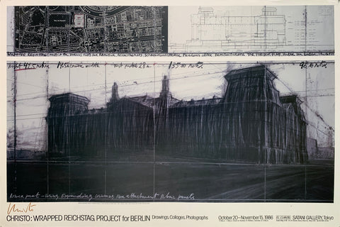 A black and white sketch of a wrapped reichstag with an orthographic set of maps on top.