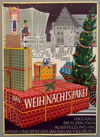 Poster shows a christmas set up with wrapped gifts and buildings in the background.