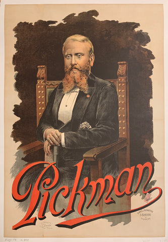 Turn of the Century poster of a man in a black suit sitting in a fancy wooden chair with his hands folded over a book .