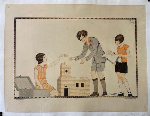 Children With Building Blocks Print
