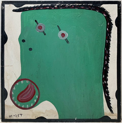 A Mose Tolliver self-portrait in green.