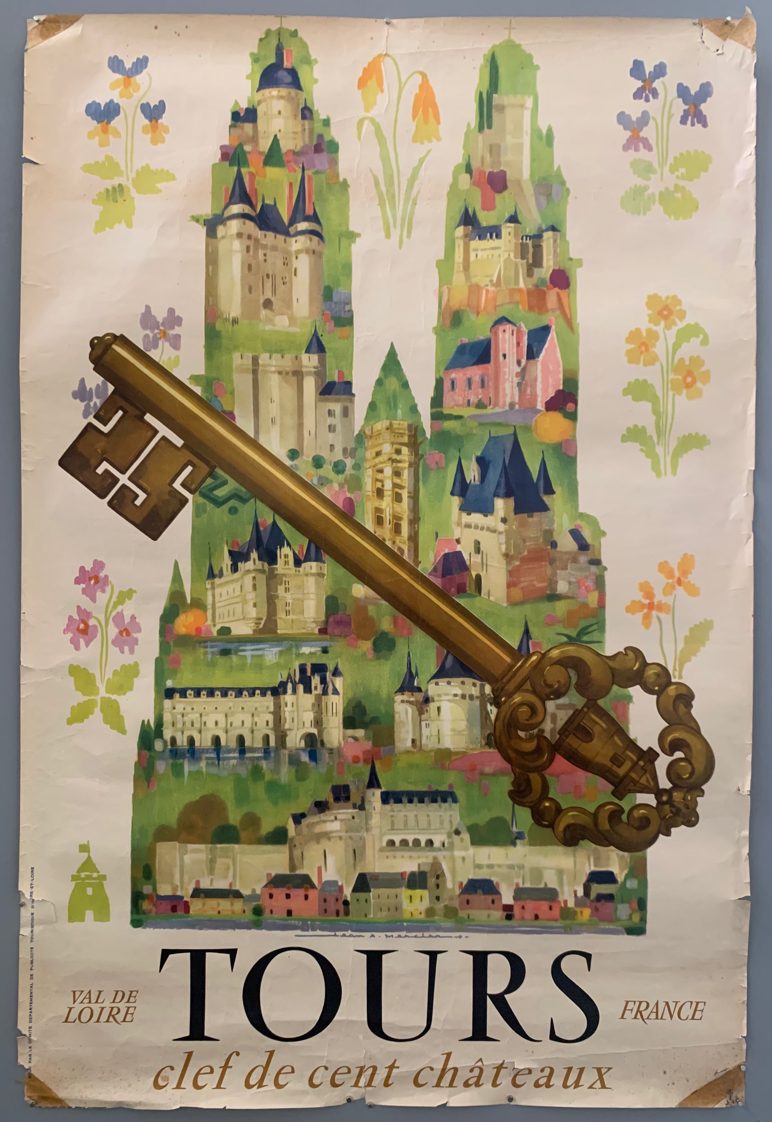 A white poster has a green outline of a cathedral with many small blue and cream-colored castles. Around the cathedral are little flowers. On top of everything i an intricate gold key. The writing is a the bottom in bold fonts in black and gold. The corners of the poster are gold.