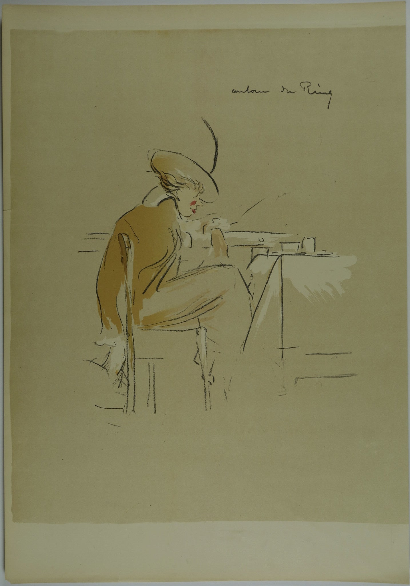 Lady sitting at table Lithograph