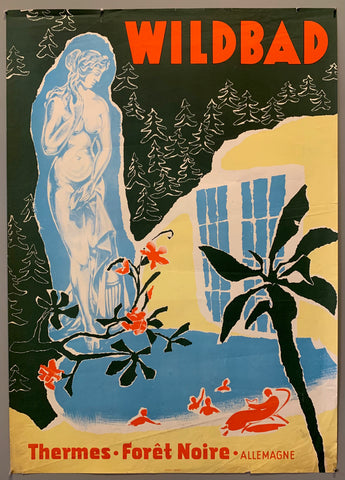 Collage like image, statue of a naked woman on the left side, small cutouts and a blue window in the background.