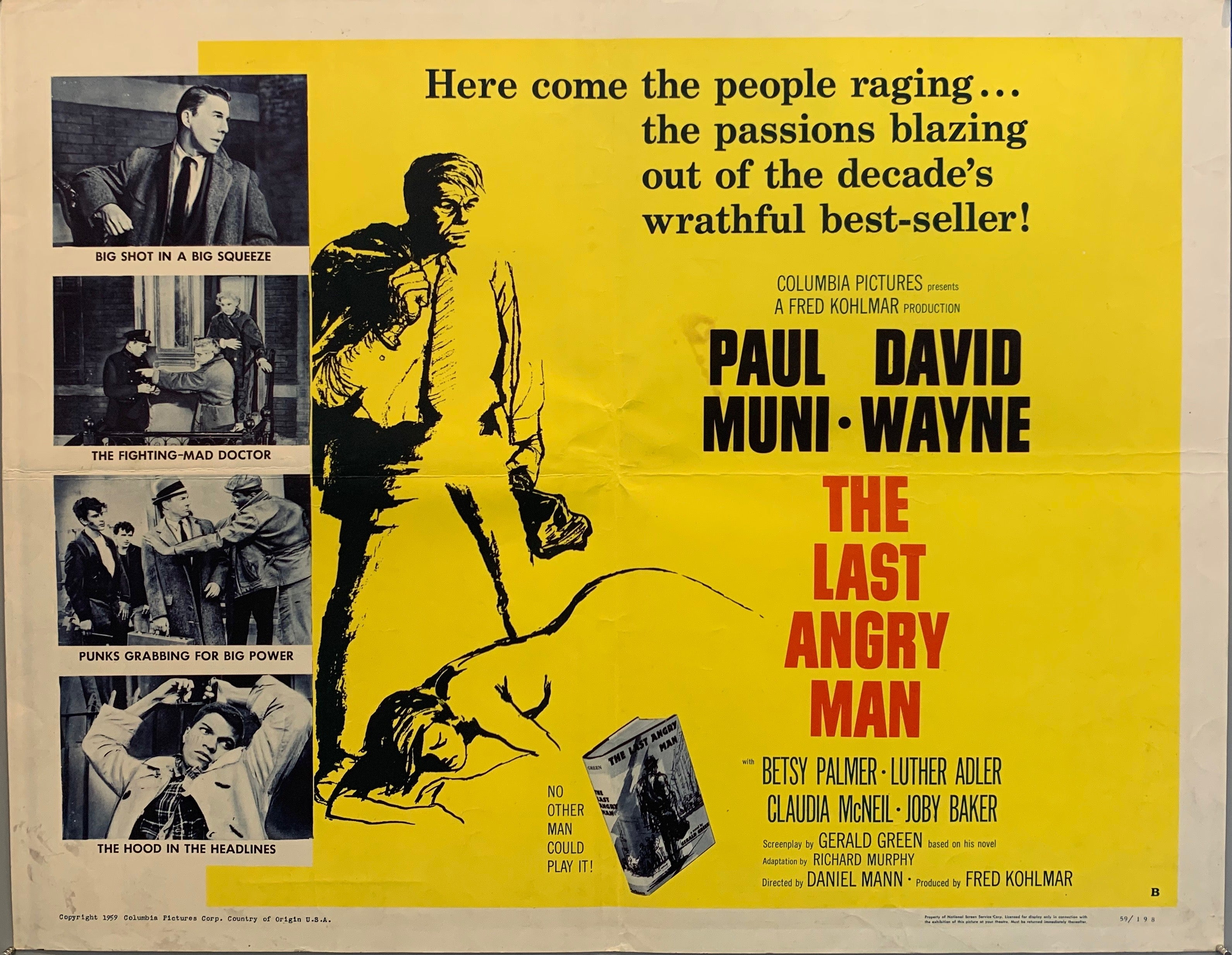 man in suit lying over sleeping naked woman the last angry man movie poster