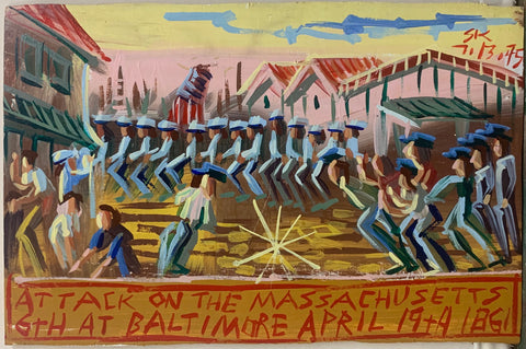A Steve Keene painting of a Baltimore riot during the Civil War.