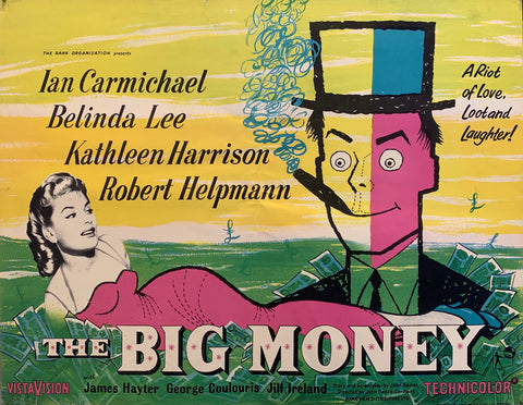 movie poster yellow sky belinda lee in pink dress cartoon man smoking a cigar with blue smoke half of face is pink lying in ggrass and money