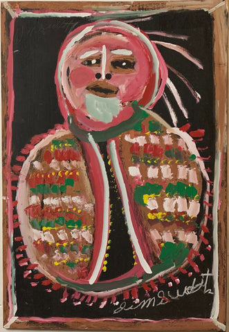 Native American Chief in Pink #91, Jimmie Lee Sudduth Painting