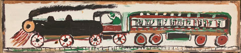 Black and Green Train #18, Jimmie Lee Sudduth Painting