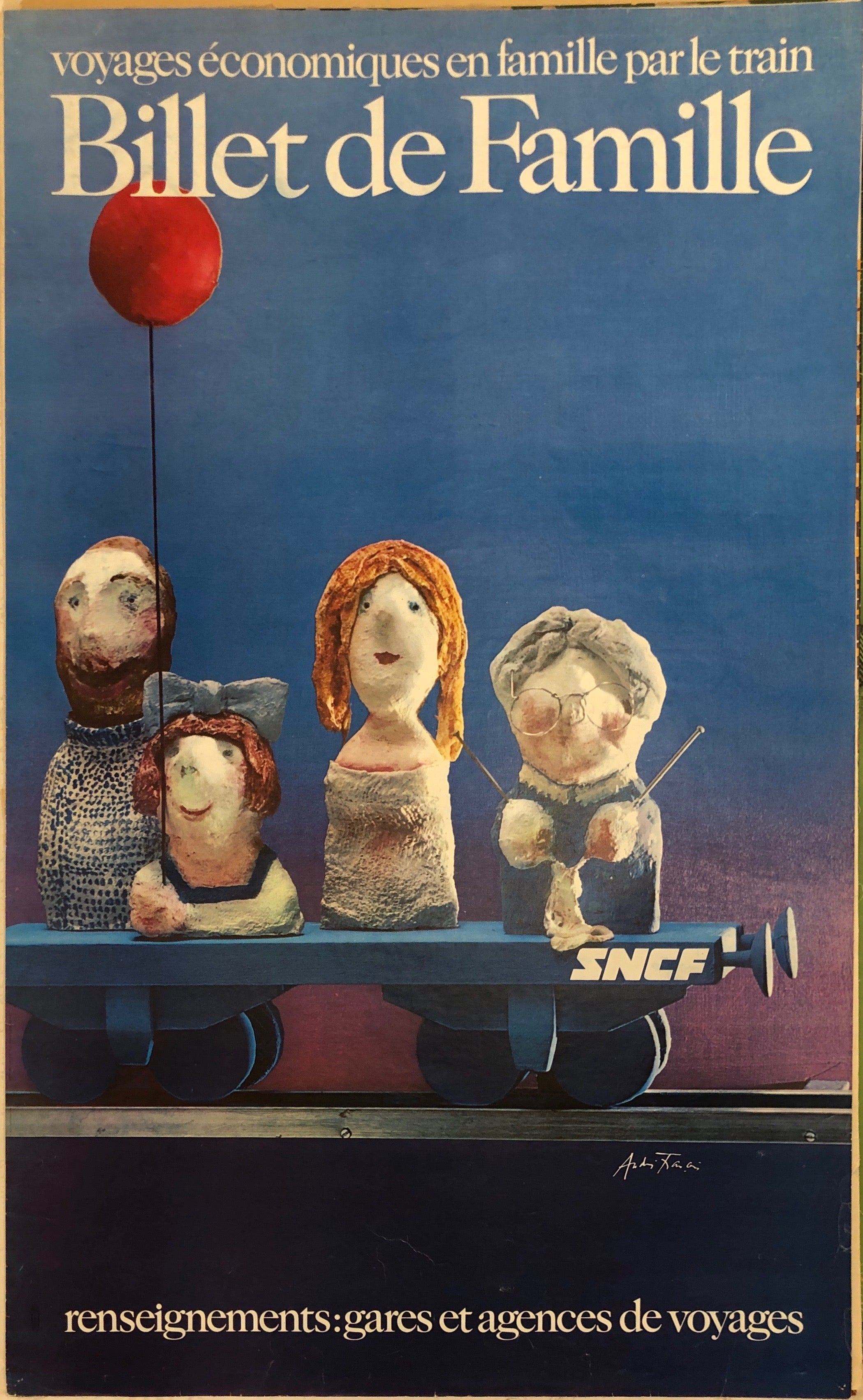 A blue background has a family of four at the front in clay sculptures. They are cruedly made. They are on a tiny cart, meant to be a train. The font is bold and big, at the top.
