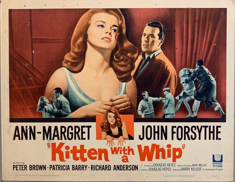 2 people standing and fighting in theater, kitten with a whip movie poster