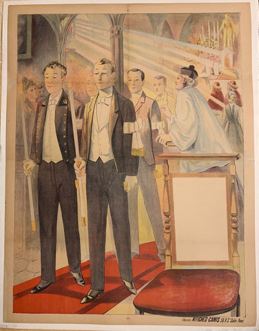 Turn of the Century poster of congregants in suits inside a chapel.