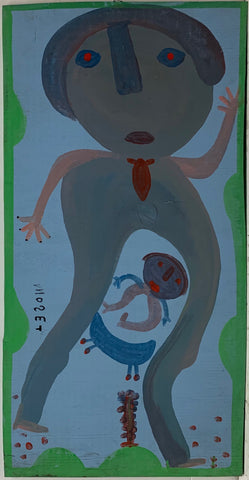 A Mose Tolliver painting of a larger blue man with a smaller blue child underneath him.