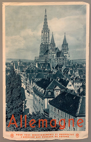 Poster shows a black and white picture of the Ulm Minster church in Ulm, in Baden-Württemberg. Red text on the bottom.