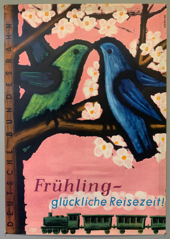 Poster from the German federal railway advertising spring travel with two birds touching beaks in a cherry blossom tree above a train.