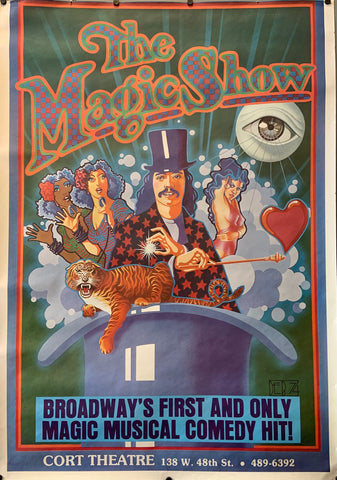 Poster for The Magic Show, a cartoon images of a magician surrounded by female performers illustrated on the poster.