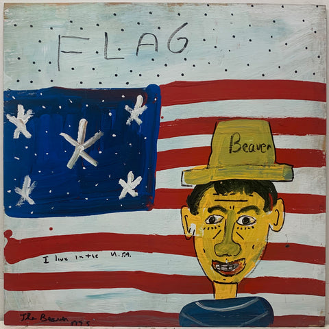 A painting by the Beaver. A self-portrait of the Beaver wearing a yellow hat and standing before an American flag.