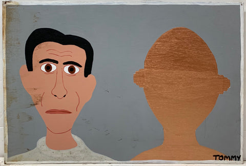 A Tommy Cheng portrait of Michael Rennie and a second faceless half.
