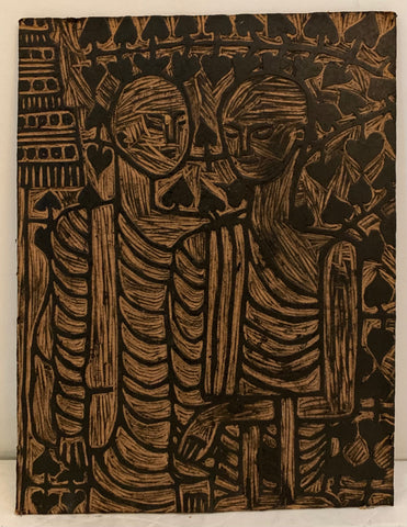 Woodblock of two monks talking in a garden
