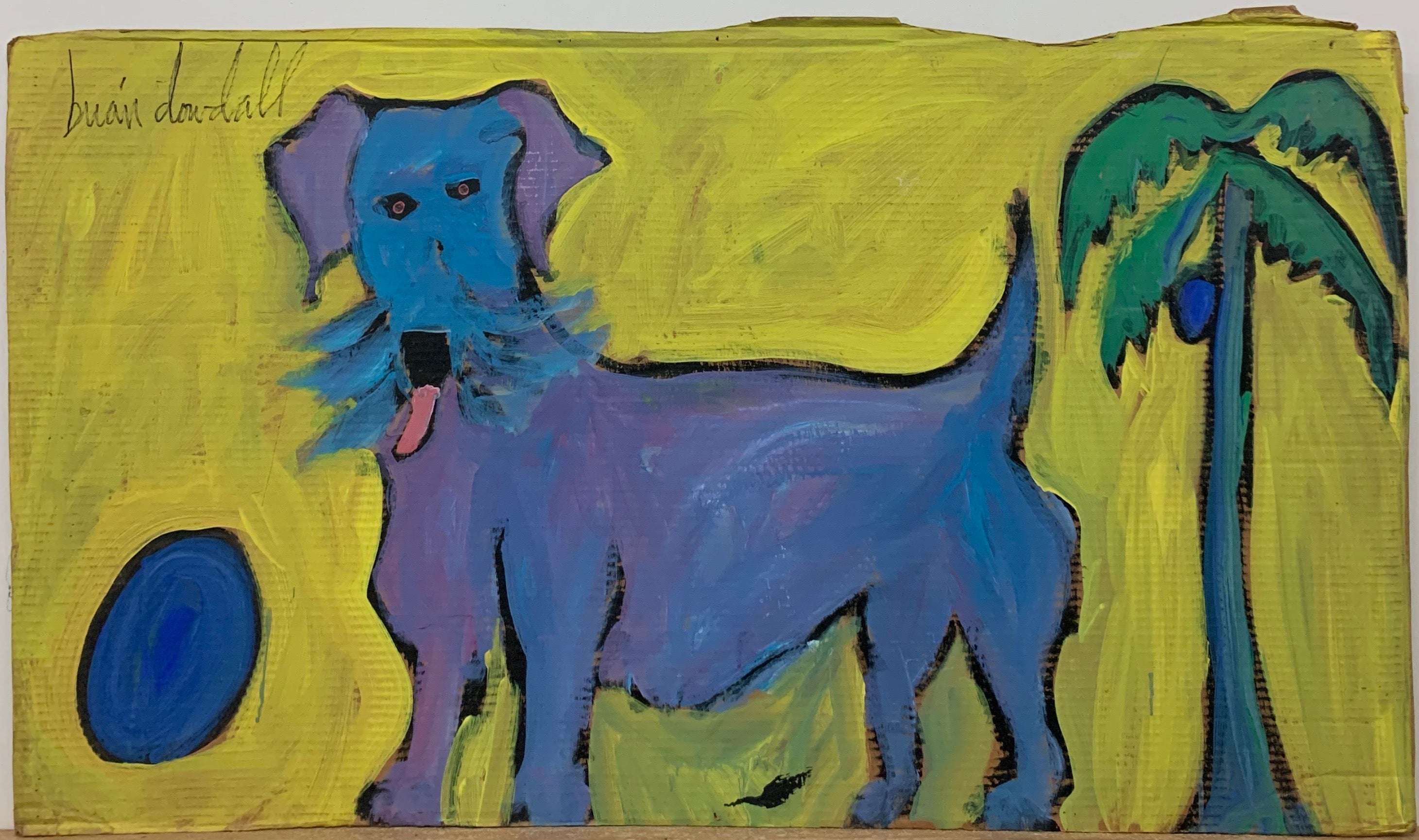 A Brian Dowdall painting of a blue dog playing frisbee in front of a palm tree with a coconut.