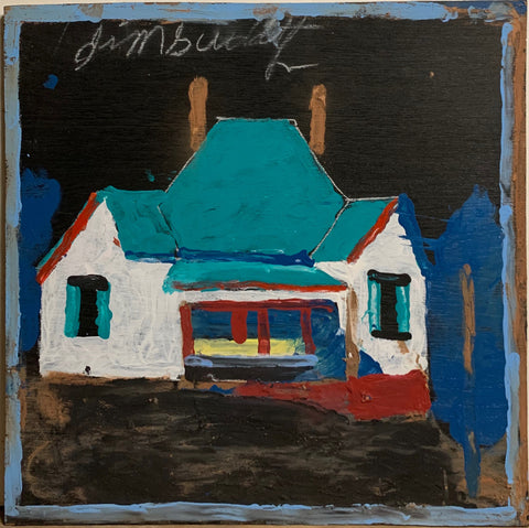 A painting of a small blue house.