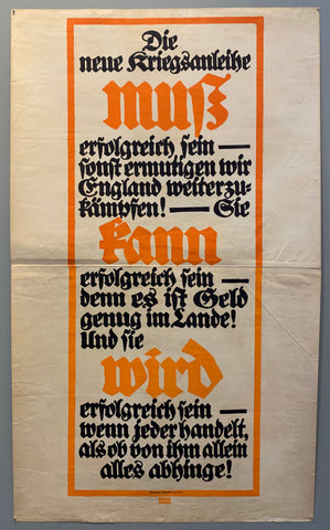 Poster in a Fraktur typeface. A red bow down the middle of the poster with black and red text inside.