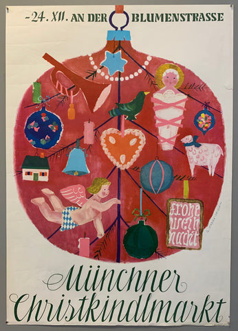 Poster shows a big round christmas tree ornament and inside is a tree with many smaller ornaments hanging from the branches, including an angel, a merry christmas sign and a baby jesus.