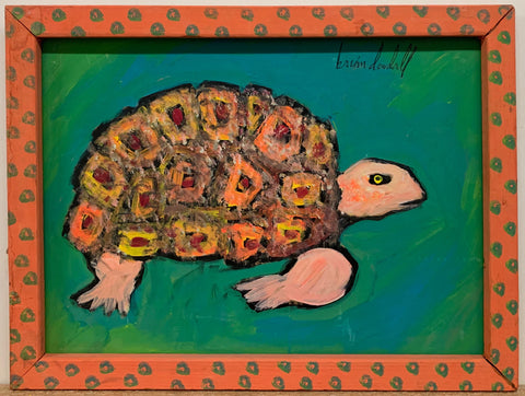 A Brian Dowdall painting of a tortoise.