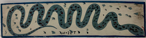 A Mose Tolliver painting of a twisting blue snake, speckled with scales of different shades of blue.