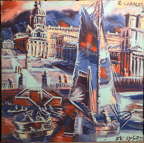 A Steve Keene painting of a sailboat in a Venetian canal.