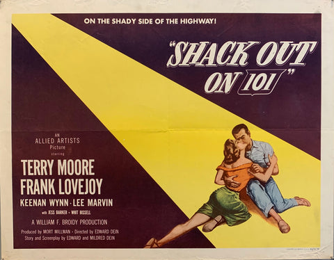Shack Out On You 101 movie poster, man and woman kissing on yellow and red background