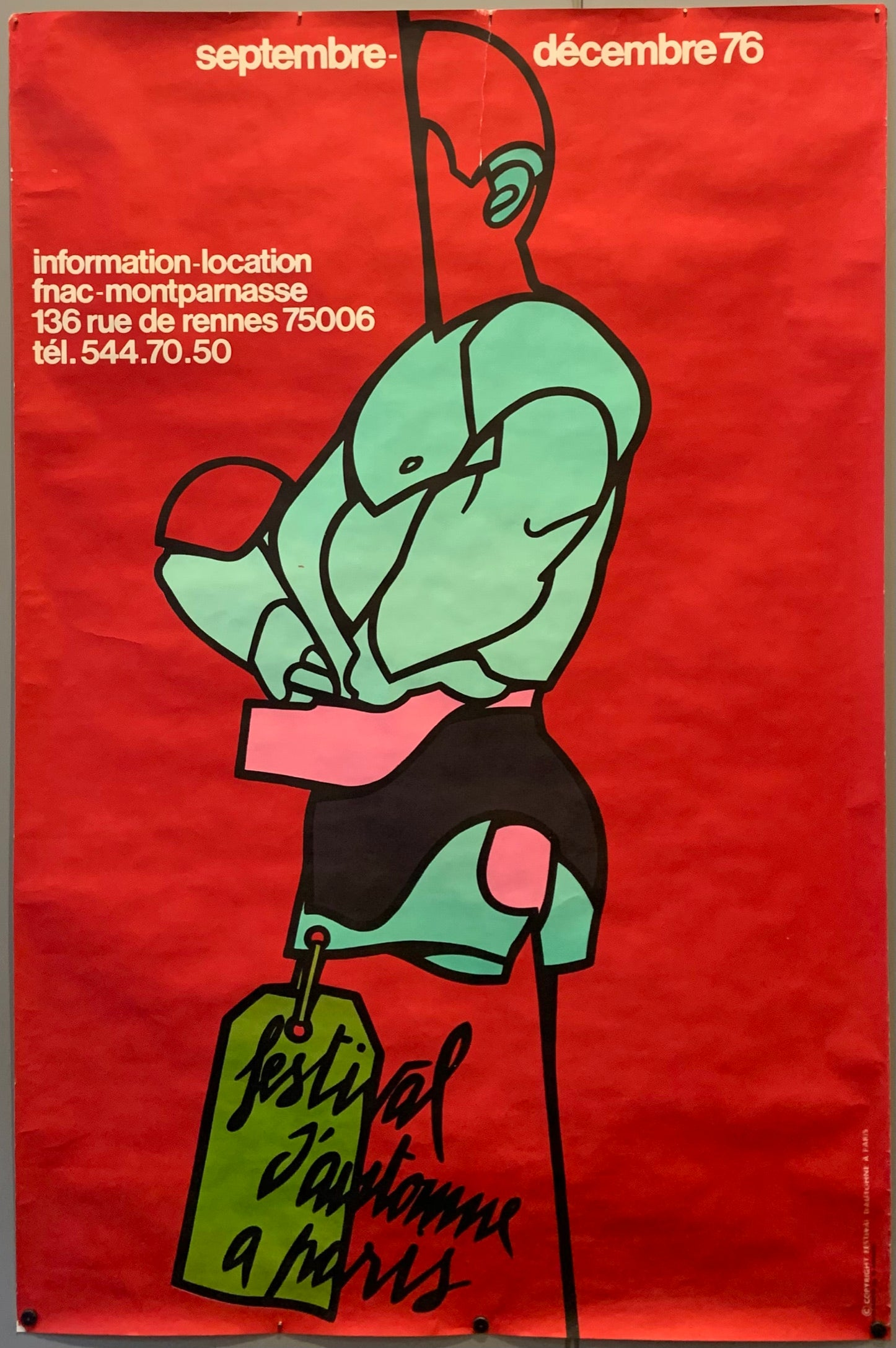 A poster for an autumnal festival in Paris, illustrated with a turquoise male mannequin.
