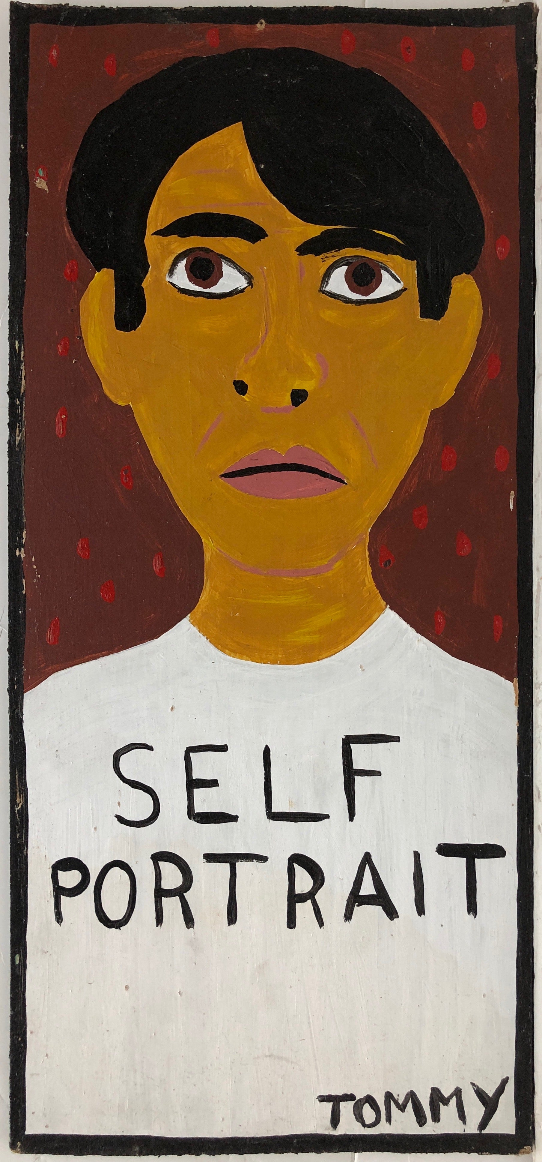 Self-portrait of the Artist Tommy Cheng, labeled as such in black lettering.