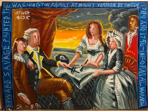 A Steve Keene painting of an Edward Savage painting. George Washington sits at Mount Vernon with Martha Washington and family.
