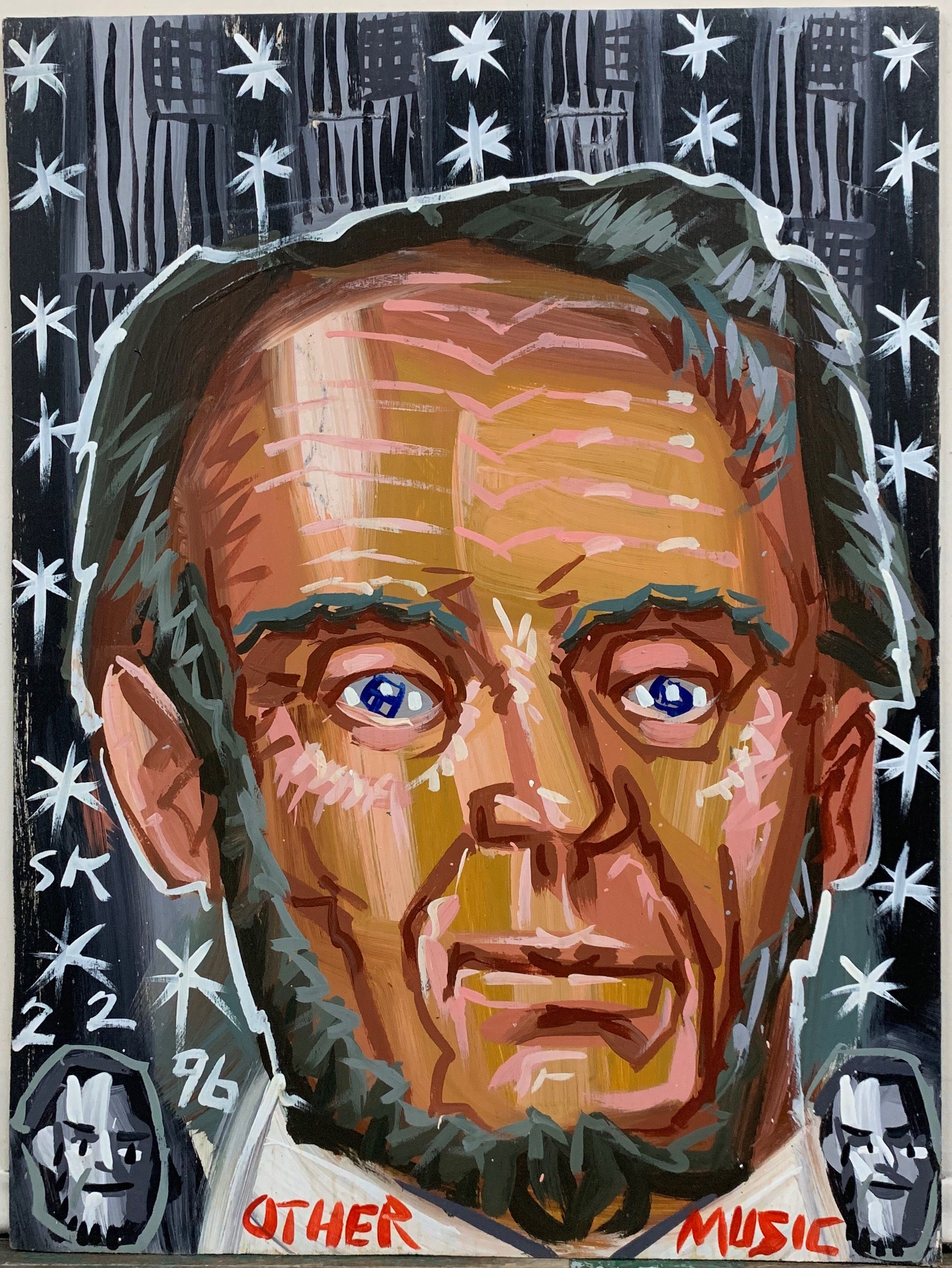 A Steve Keene painting of a portrait of Abraham Lincoln, on a black and white starry background.