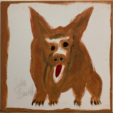 A painting of a barking dog.