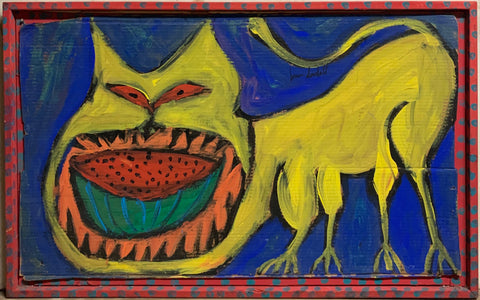 A Brian Dowdall painting of a yellow cat eating half a watermelon.