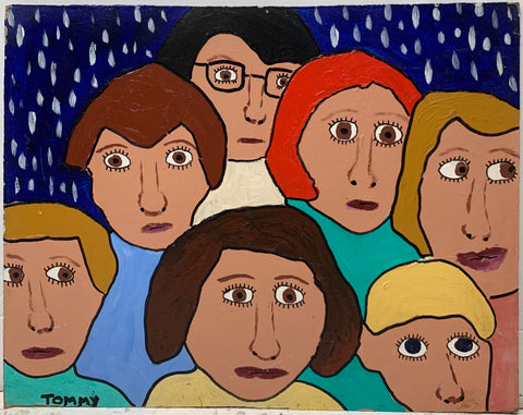 A Tommy Cheng painting of a crowd of women, all with different hair colors and all with wide open eyes.