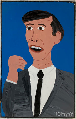 A Tommy Cheng portrait of a man in a black suit against a blue background, his mouth open in shock.