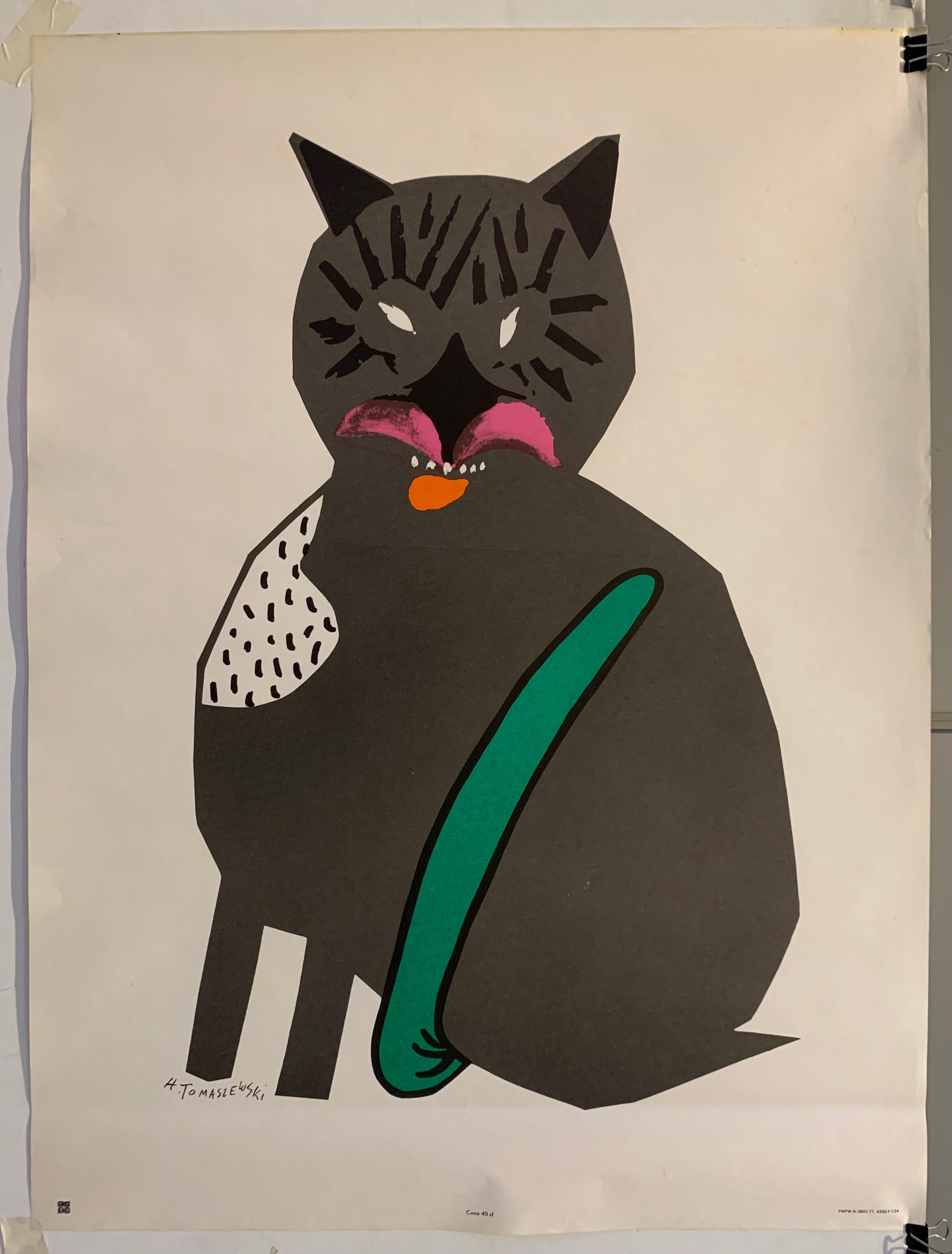 Poster of a grey cat illustration