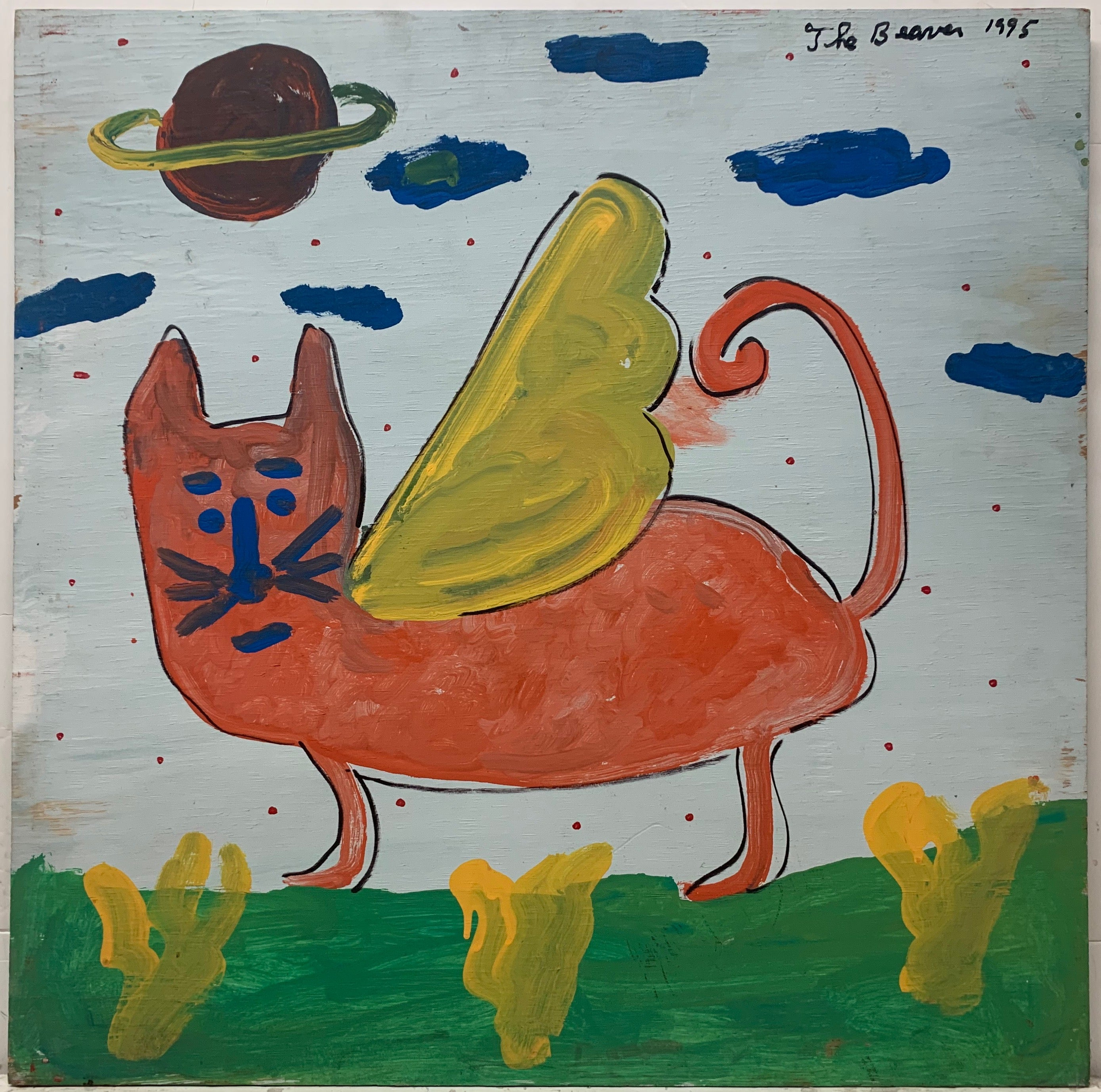 A painting by The Beaver of an orange cat with a blue face and yellow wings. Saturn is visible in the sky.