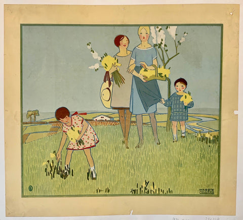 Mother and Children in Field Print