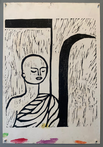woodblock of a monk standing before a doorway