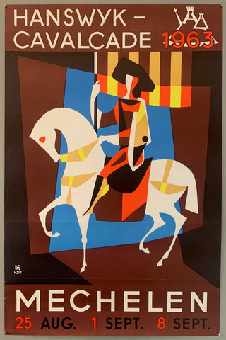 Poster for an event on august 25th, september 1st, and september 8th. A man riding a horse carrying a flag is displayed in the center of the poster.