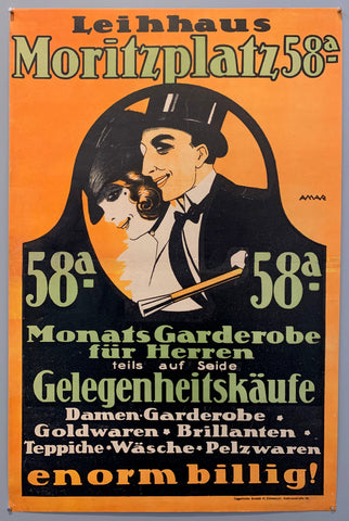 Poster shows a man and woman in formal wear surrounded by text.