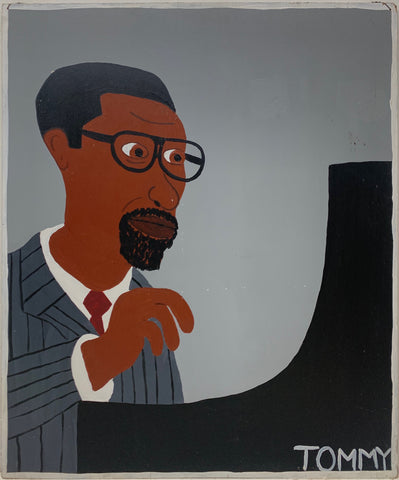 A Tommy Cheng portrait of Thelonious Monk playing piano in a gray suit.