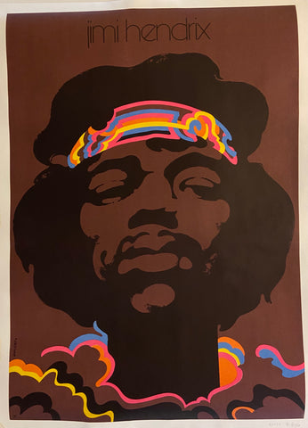 Poster of Jimi Hendrix with a multi-colored headband