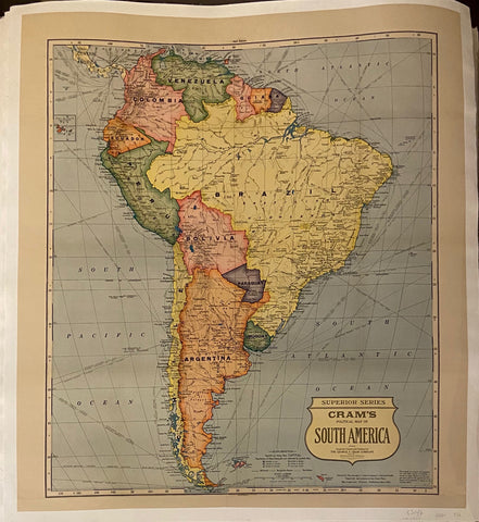 Cram's Map of South America Vintage Poster