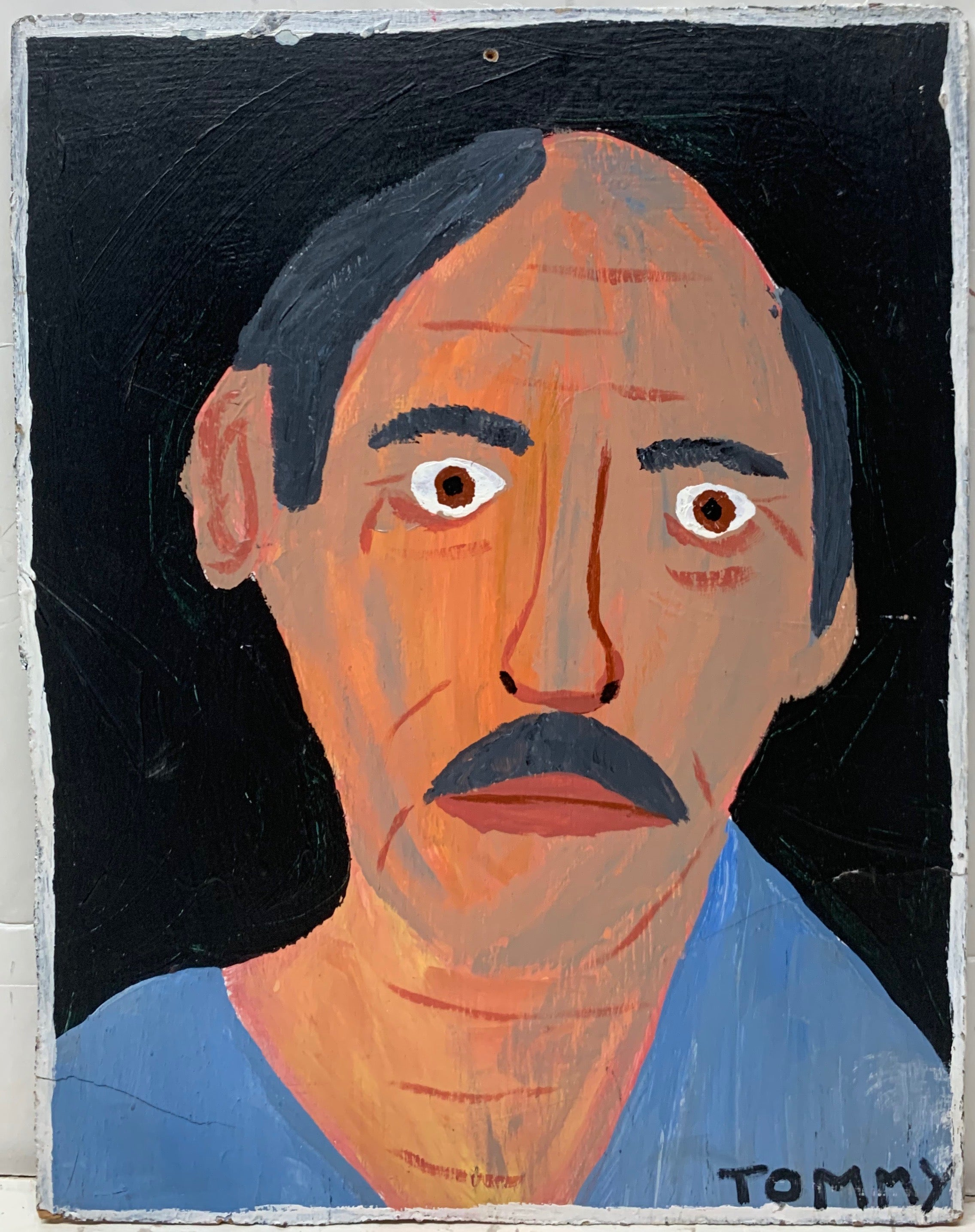 A Tommy Cheng portrait of a balding, gray-haired man with a wrinkled face and a gray, bushy moustache.